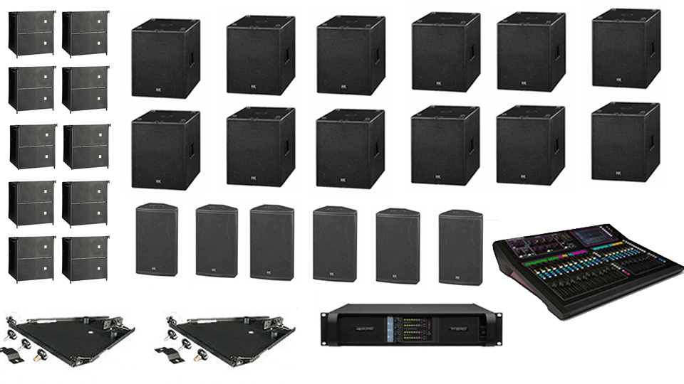 PA Hire Package 10, 6 HK Audio CTA208 Speakers, 8 HK Audio CT118 Sub's, 6 HK audio CT115 Monitors, 1 Allen and Heath GLD-80 Mixer, powered by Lab.Gruppen FP Series with microphones, DI Boxes and cabling included.