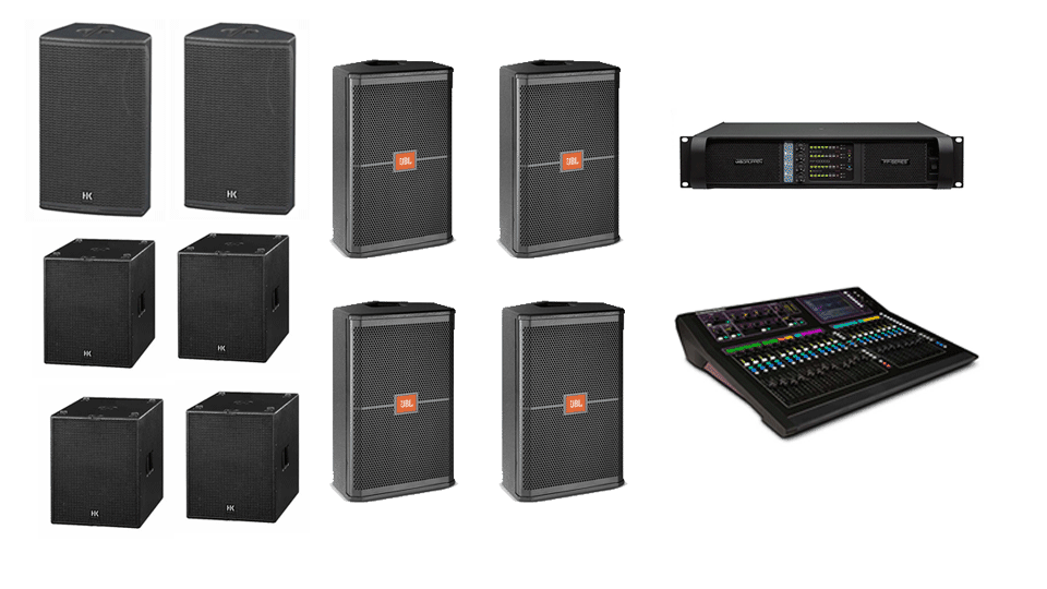 PA Hire Package 4, 2 HK Audio CT115 Speakers, 4 HK Audio CT118 Sub's, 4 HK Audio CT112 monitors, 1 Allen and Heath GLD-80 Mixer, powered by Lab.Gruppen FP Series with microphones, DI Boxes and cabling included.