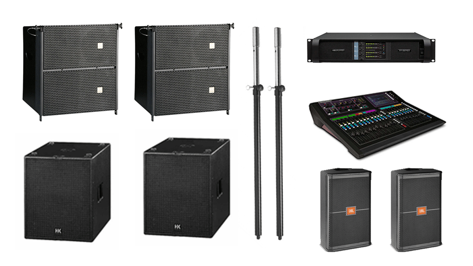 PA Hire Package 6, 2 HK Audio CTA208 Speakers, 2 HK Audio CT118 Sub's, 2 JBL SRX712m Monitors, 1 Allen and Heath GLD-80 Mixer, powered by Lab.Gruppen FP Series with microphones, DI Boxes and cabling included.
